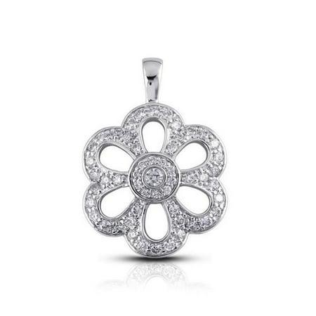 Diamond Traces UD-OS2866-1316 2.03 Carat Total Natural Diamonds 18K White Gold Pave & Bezel Setting Flower Shape Fashion Pendant - image 1 of 1