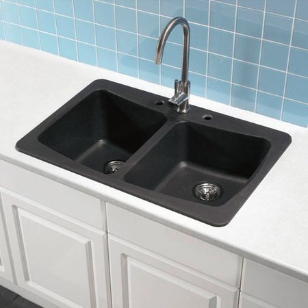 Astracast AS-AL20USSK Double Basin Drop In/Undermount Kitchen Sink - Metallic Chocolate