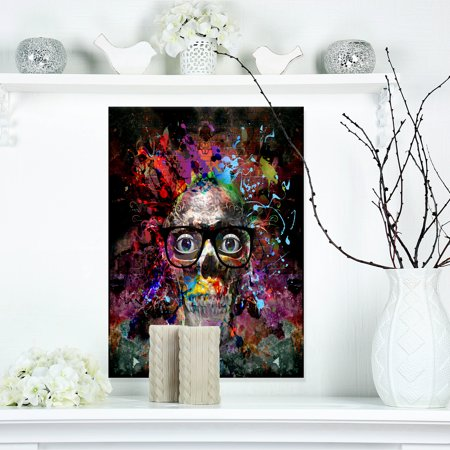 Colorful Human Skull with Glasses - Abstract Wall Art Canvas - image 3 de 3