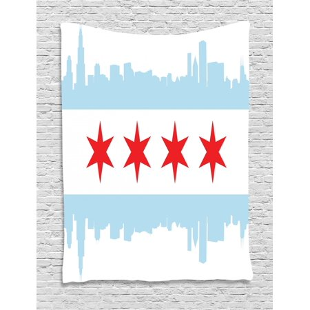 Chicago Skyline Tapestry, City of Chicago Flag with High Rise Buildings Scenery National, Wall Hanging for Bedroom Living Room Dorm Decor, Red White Baby Blue, by - Scenery Buildings