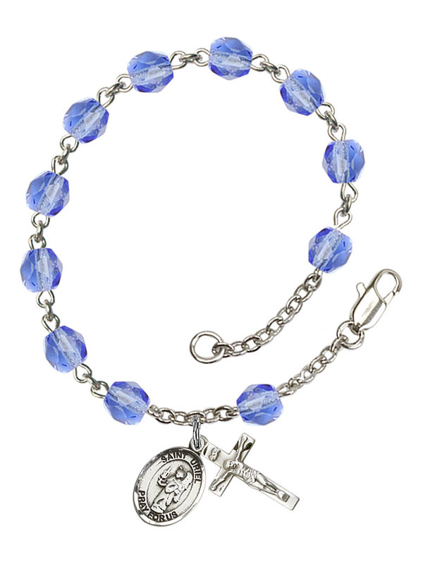 Bonyak Jewelry 18 Inch Rhodium Plated Necklace w// 4mm Blue December Birth Month Stone Beads and Saint Camillus of Lellis Charm