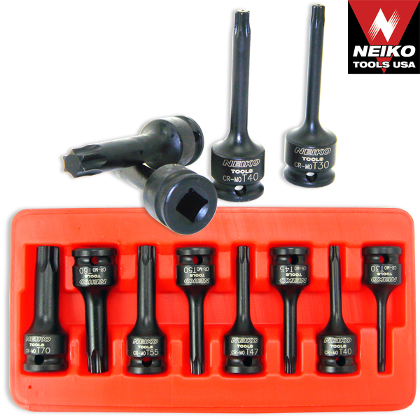 "8 Piece 1/2"" Drive Star Impact Torx Socket Bit Set T30 To T70"