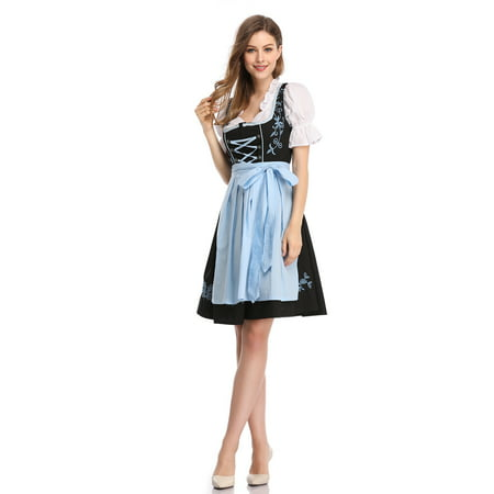 Women's German Bavarian Oktoberfest Traditional Dirndl Dress (Halloween Dirndl Dress)