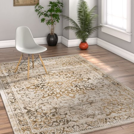 Shabby Rag - Well Woven Coverly Vintage Medallion Traditional Persian Orienta Area Rug Neutral Modern Shabby Chic Thick Soft Plush Shed Free