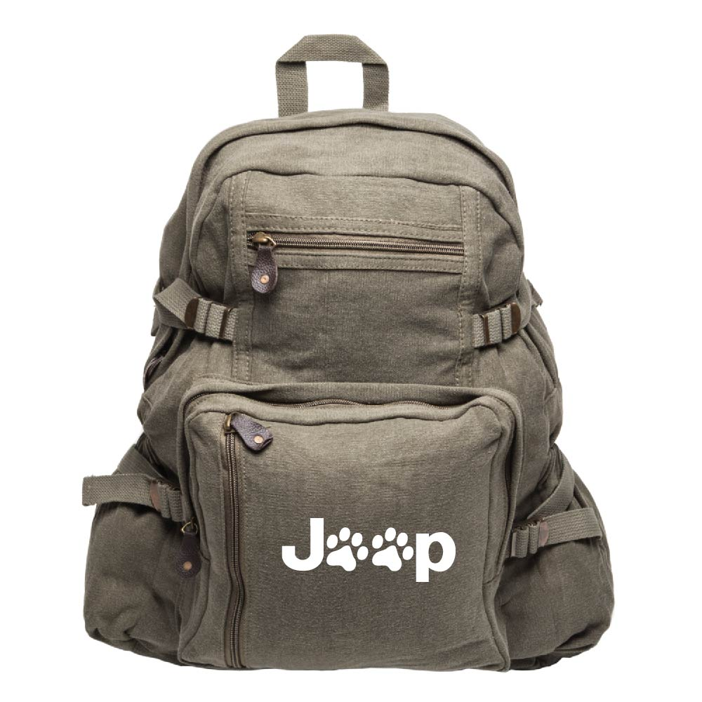 Jeep Wrangler Cat Dog Paw Prints Army Sport Heavyweight Canvas Backpack Bag
