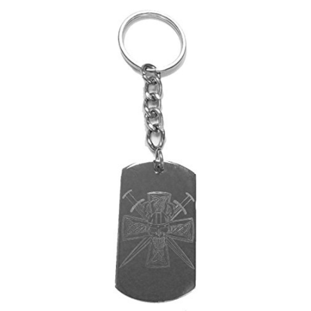 Celtic Skull Iron Cross w/ Swords - Metal Ring Key Chain Keychain