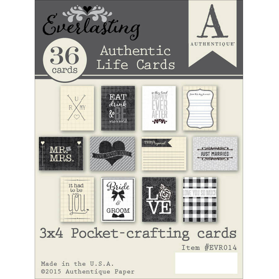 "Everlasting Authentic Life Cards-Pocket Crafting & Journaling 3""X4"" Cards"