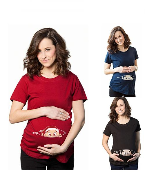 Girl12Queen Fashion Peeking Baby Pattern Top Women Loose Maternity Pregnant Summer T-Shirt