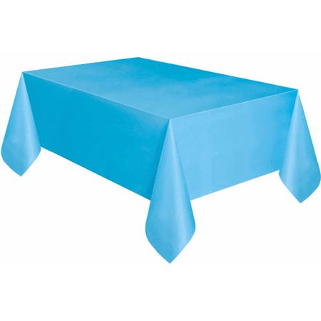 Light Blue Plastic Party Tablecloth, 108 x 54in - Blue Plastic Tablecloth