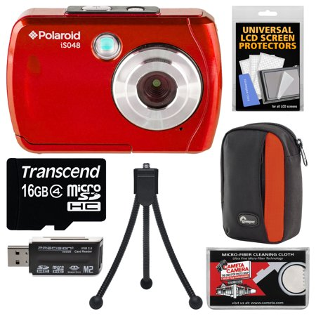Polaroid iS048 Waterproof Digital Camera (Red) with 16GB Card + Case + Tripod +
