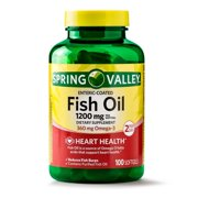 Spring Valley Fish Oil Enteric Coated Softgels, 1200mg, 100 ct