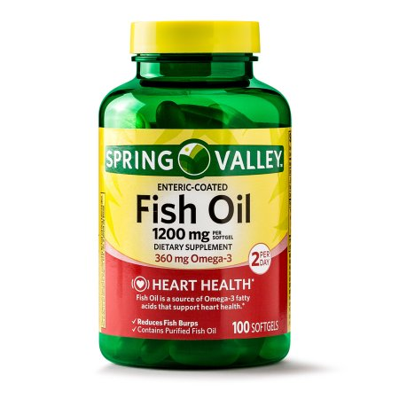 Spring Valley Fish Oil Enteric Coated Softgels, 360mg Omega-3 for Heart Health, 100ct
