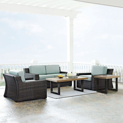 Beaufort 5-Piece Outdoor Wicker Seating Set with Mist Cushion, Loveseat, 2 Chairs, Coffee Table and Side Table