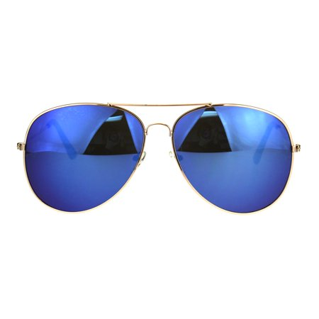 Mens Color Mirror Metal Rim Oversize Officer Sunglasses Blue