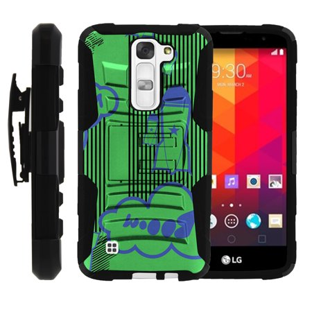 LG K7, LG Tribute 5 Miniturtle® Clip Armor Dual Layer Case Rugged Exterior with Built in Kickstand + Holster - Booming Rockets