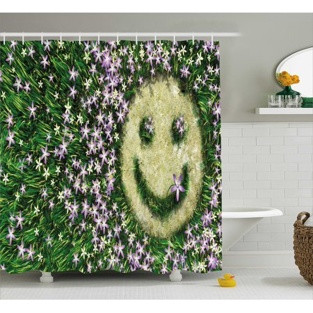 Garden Shower Curtain, Smiley Emoticon on the Grass with Spring ...