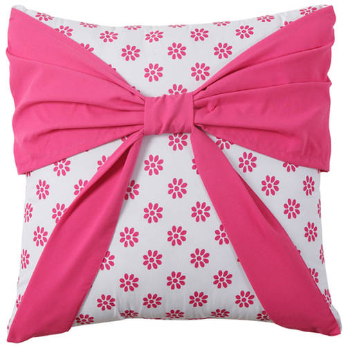 VCNY Amanda Pink Floral Bow Decorative Kids Throw Pillow