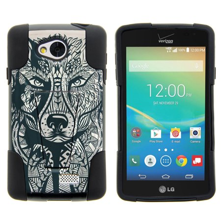 Lg Tribute  Lg Transpyre And Lg Optimus F60 Strike Impact Dual Layered Shock Resistant Case With Built In Kickstand By Miniturtle    Wolf Drawing