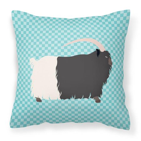 Carolines Treasures BB8061PW1414 Welsh Black-Necked Goat Blue Check Fabric Decorative Pillow, 14 x 14 in. - image 1 of 1