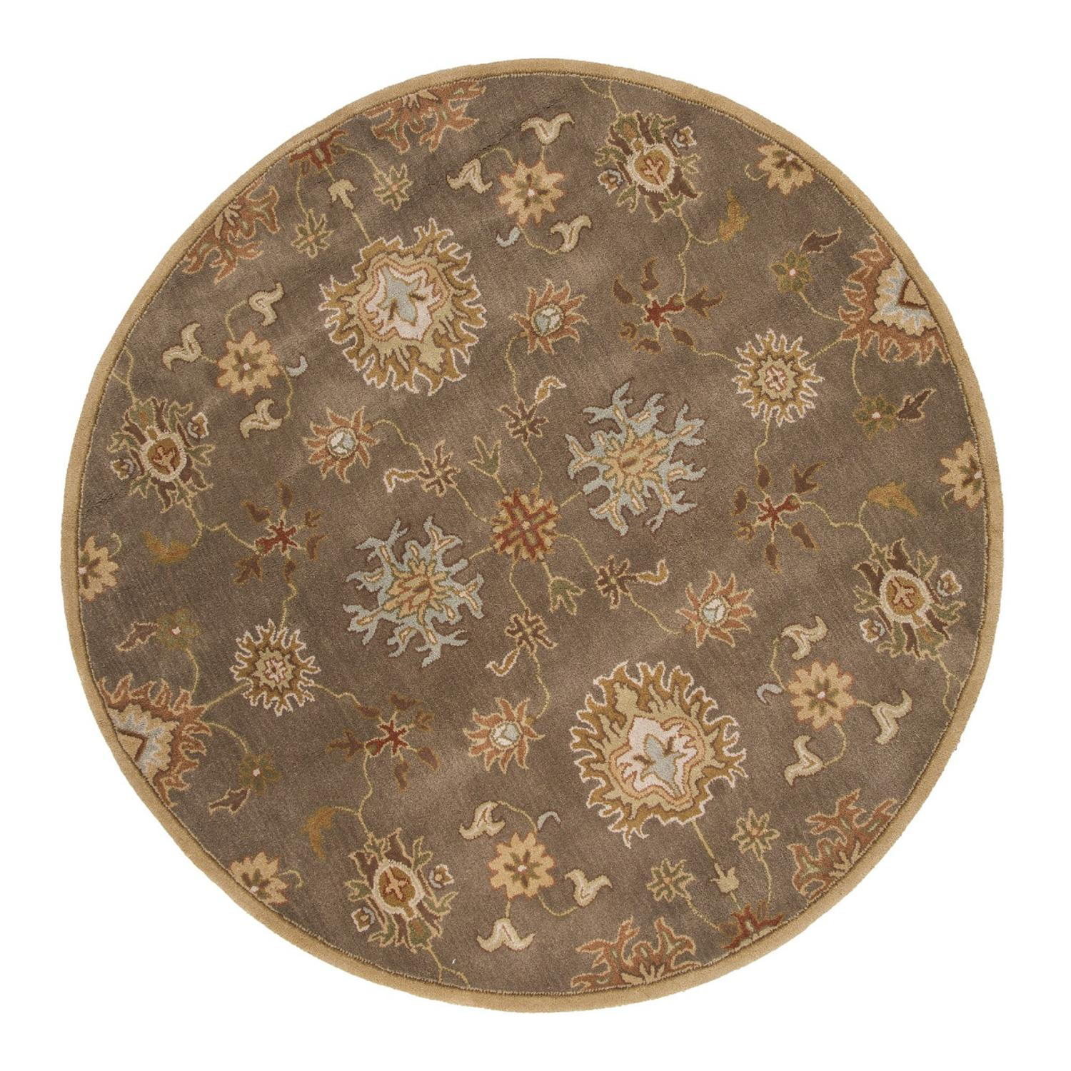 8' Burnt Sienna and Sandalwood Brown Transitional Nantes Round Hand-Tufted Wool Area Throw Rug