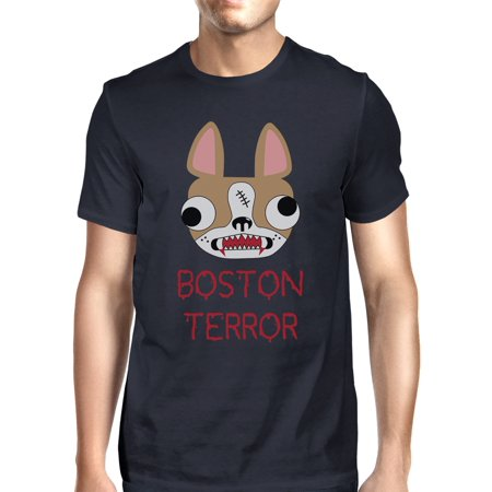 Boston Terror Terrier Halloween Shirt For Men Navy Cotton Crewneck