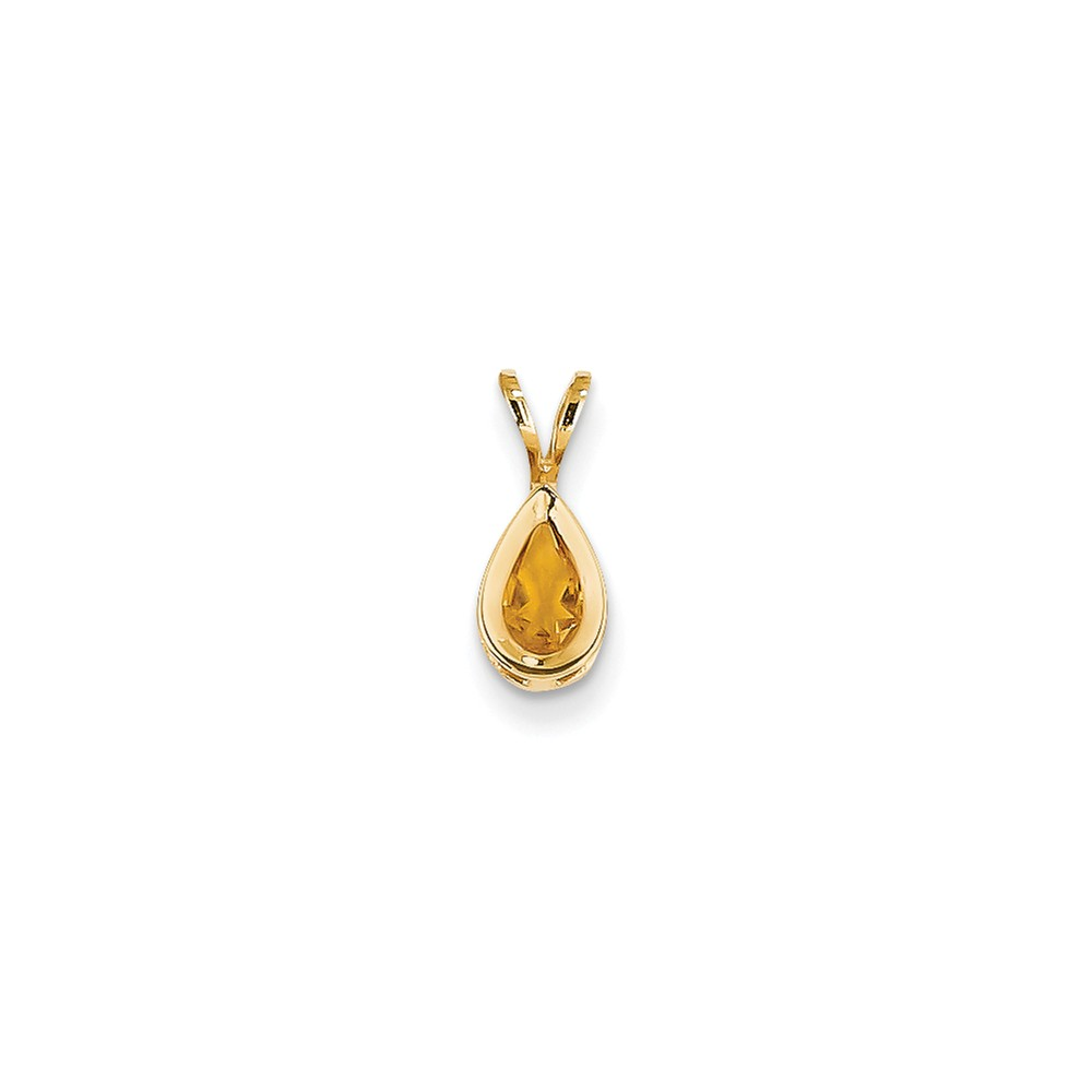 14k Yellow Gold 6x4mm Pear Citrine bezel pendant. Gem Wt- 0.35ct