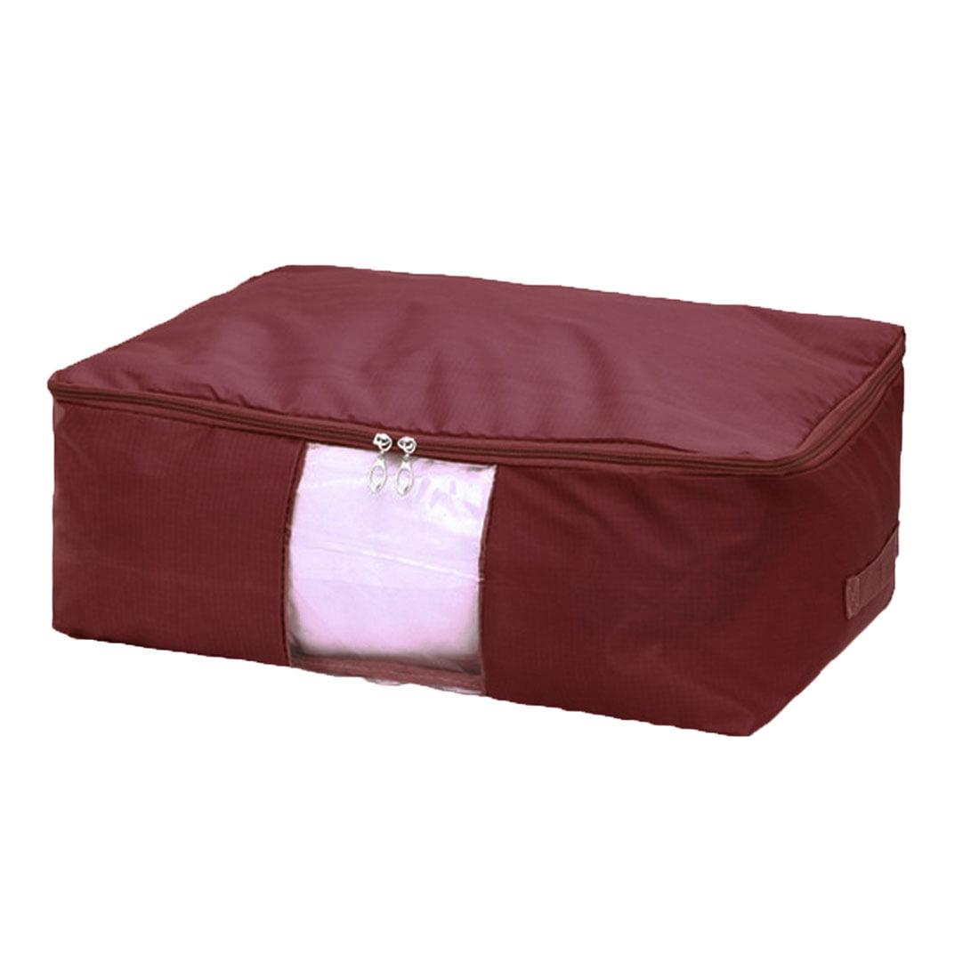 Blanket Pillows Quilt Clothes Beddings Storage Bag Organizer Burgundy 50x35x20cm by Unique-Bargains