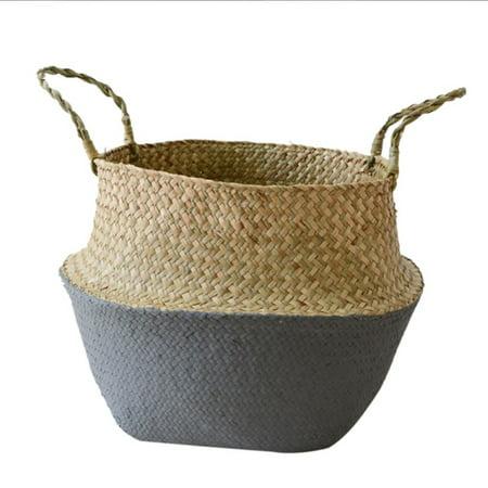 Home Storage Decor Basket Seagrass Wickerwork Rattan Foldable Woven Box ()
