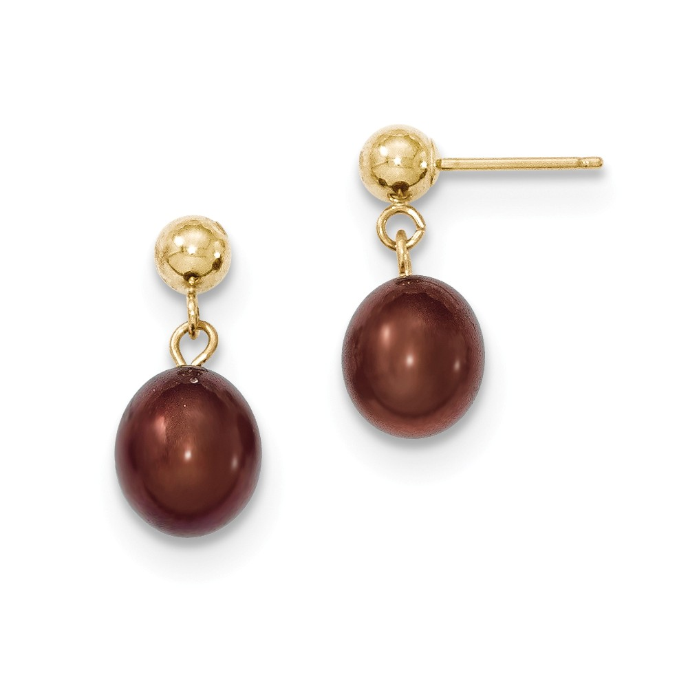 14k Yellow Gold 0.6IN Long 7-7.5mm Chocolate Freshwater Cultured Pearl Dangle Earrings