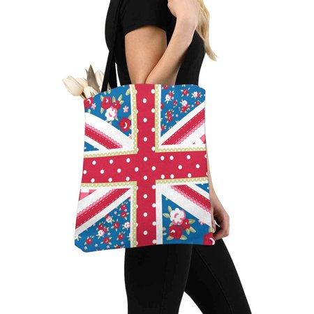HATIART Cute Union Jack British Flag in Shabby Chic Floral Style Canvas Tote Bags Reusable Shopping Bags Grocery Bags Party Supply Bags for Women Men Kids - image 2 of 3