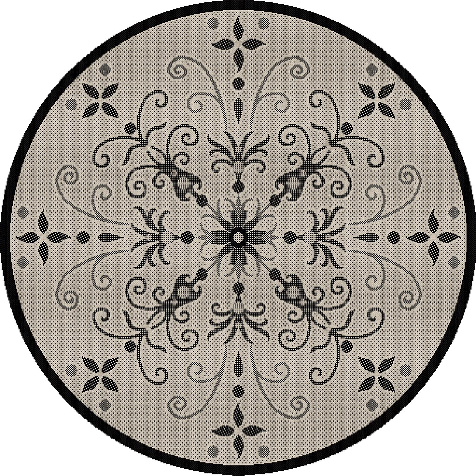 Dynamic Rugs Piazza Vente Round Indoor/Outdoor Area Rug - Sand/Black