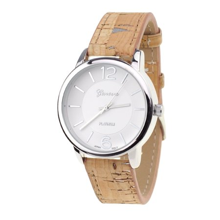 Women's Geneva Japanese Movement Silver-Tone Wood Look Faux Leather Band Watch