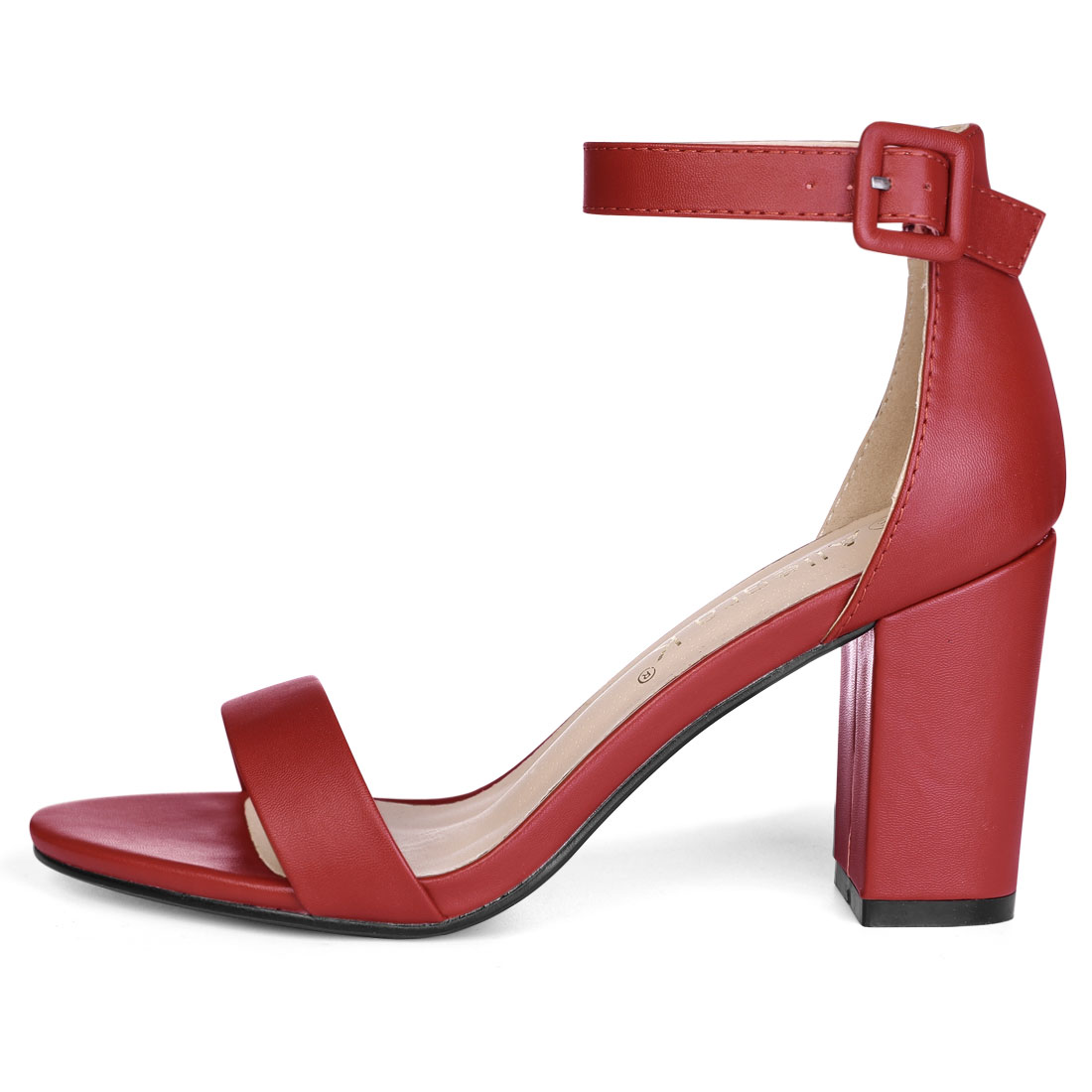 YFL284-66 Women Open Toe Chunky High Heel Ankle Strap Sandals Red/US 9.5 - image 1 de 7
