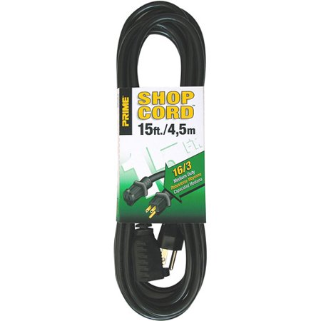Prime Wire 15 Foot 16 3 Sjtw Indoor And Outdoor Extension Cord  Black