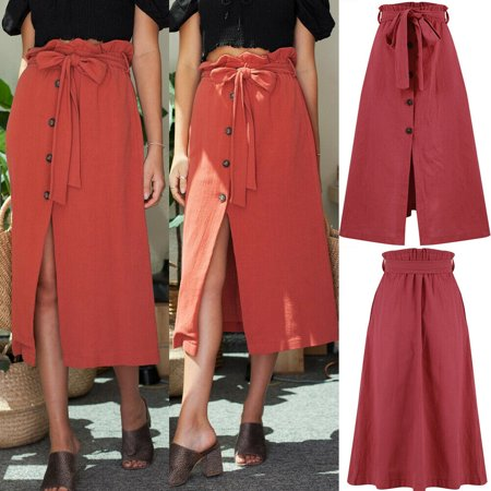 Womens Front Slit Skirt Bandage Waist Long Midi Casual Beach Dress Vintage Skirt ()