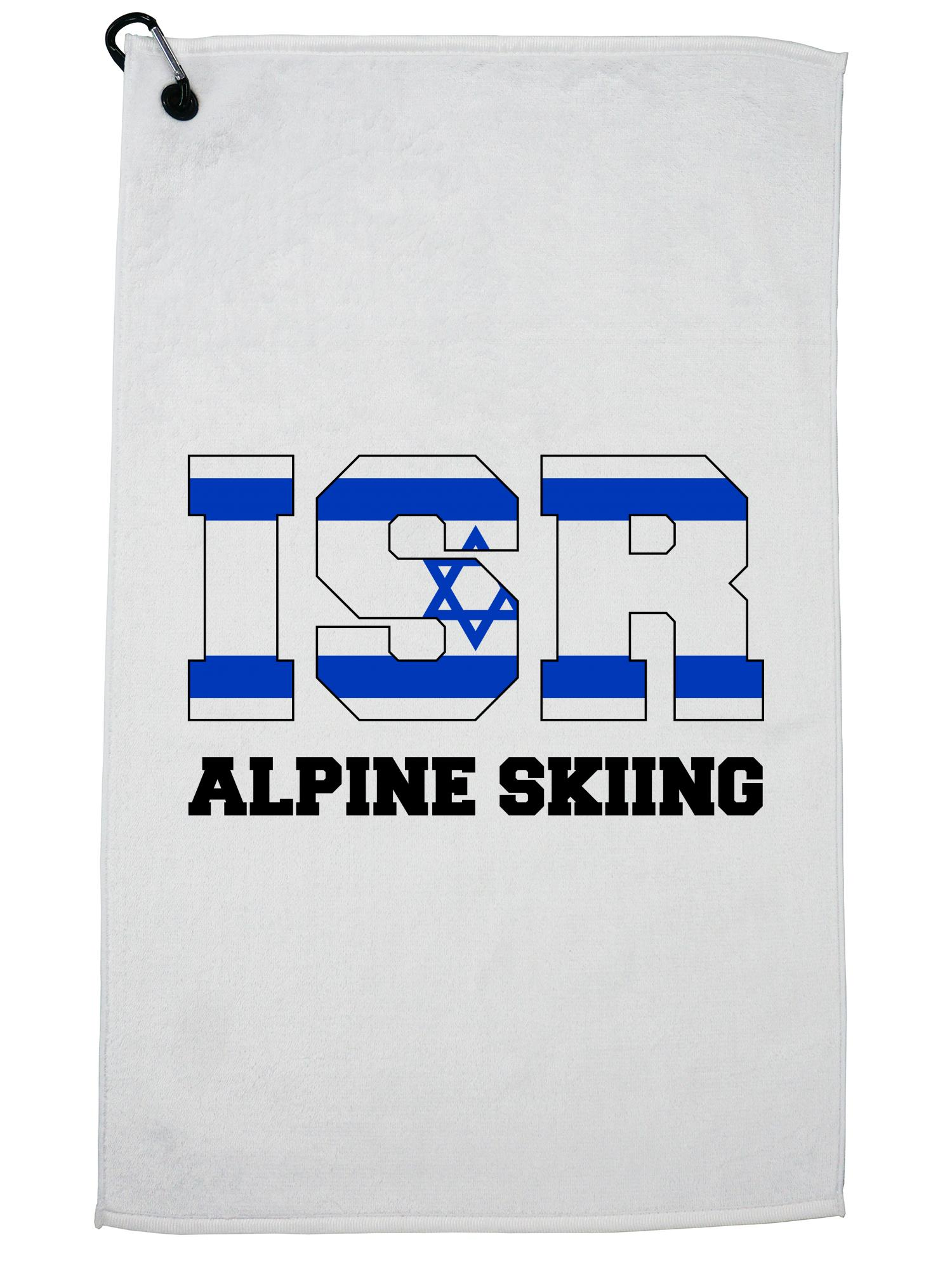 Israeli Alpine Skiing Winter Olympic -ISR Flag Golf Towel with Carabiner Clip by Hollywood Thread