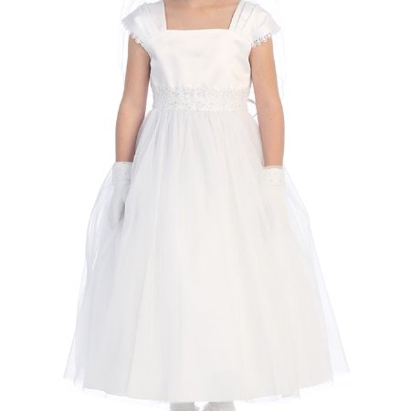Little Girls Flower Girl First Communion Pageant Wedding Birthday Party Girl Dress White 2 (2KD22) - Little Girls Birthday Party
