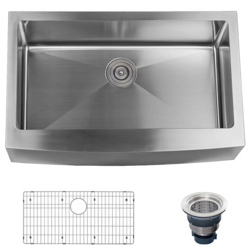 """Miseno MSS3320F Farmhouse 33"""" Single Basin Stainless Steel Kitchen Sink with Apr"""