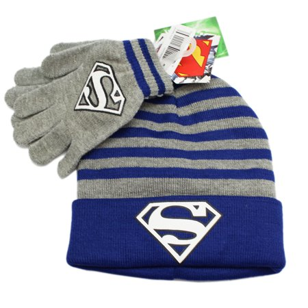 DC Comics Gray and Blue Glow in the Dark Superman Beanie and Gloves Set](Superman Beanie)