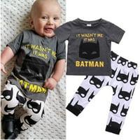 Hot Batman Newborn Baby Boys Short Sleeve T-shirt Tops Pants Outfits Clothes Set