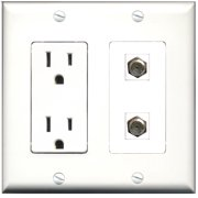 Wallplate City - 15 Amp Power Outlet 2 Port Coax Decorative Wall Plate