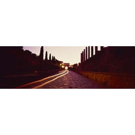 Ruins along a road at dawn Roman Forum Rome Lazio Italy Canvas Art - Panoramic Images (18 x