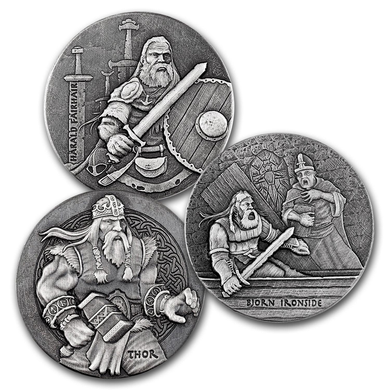 2016 3-Coin 6 oz Silver Set Viking Series