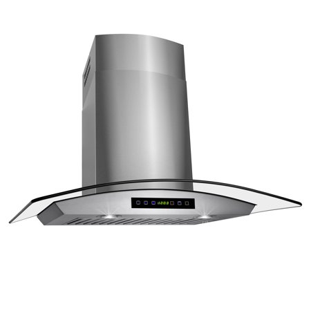 "Image of AKDY 30"" Stainless Steel Glass Wall Mount Range Hood Touch Control Panel, LED Lights & Baffle Filters"
