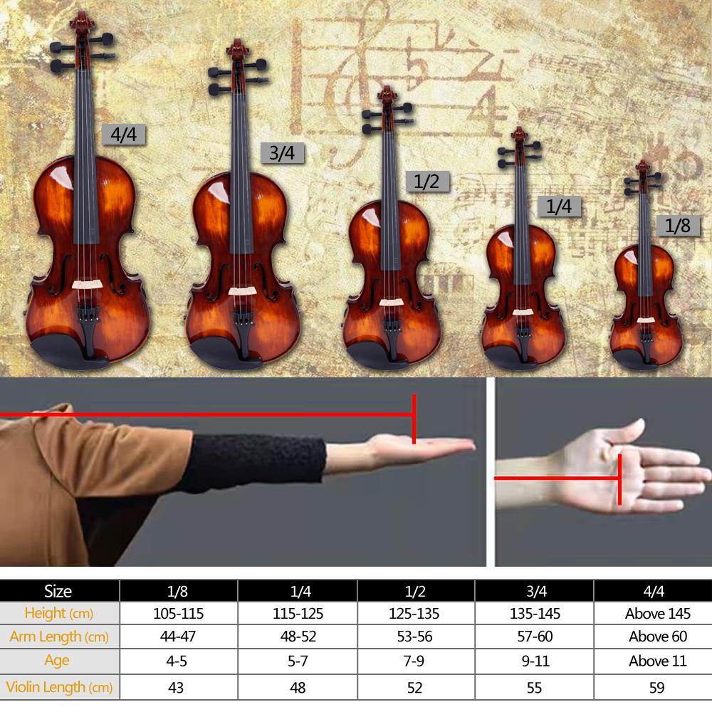Zimtown New Glarry 5 Sizes Brilliance Spruce Wood Violin Fiddle Set