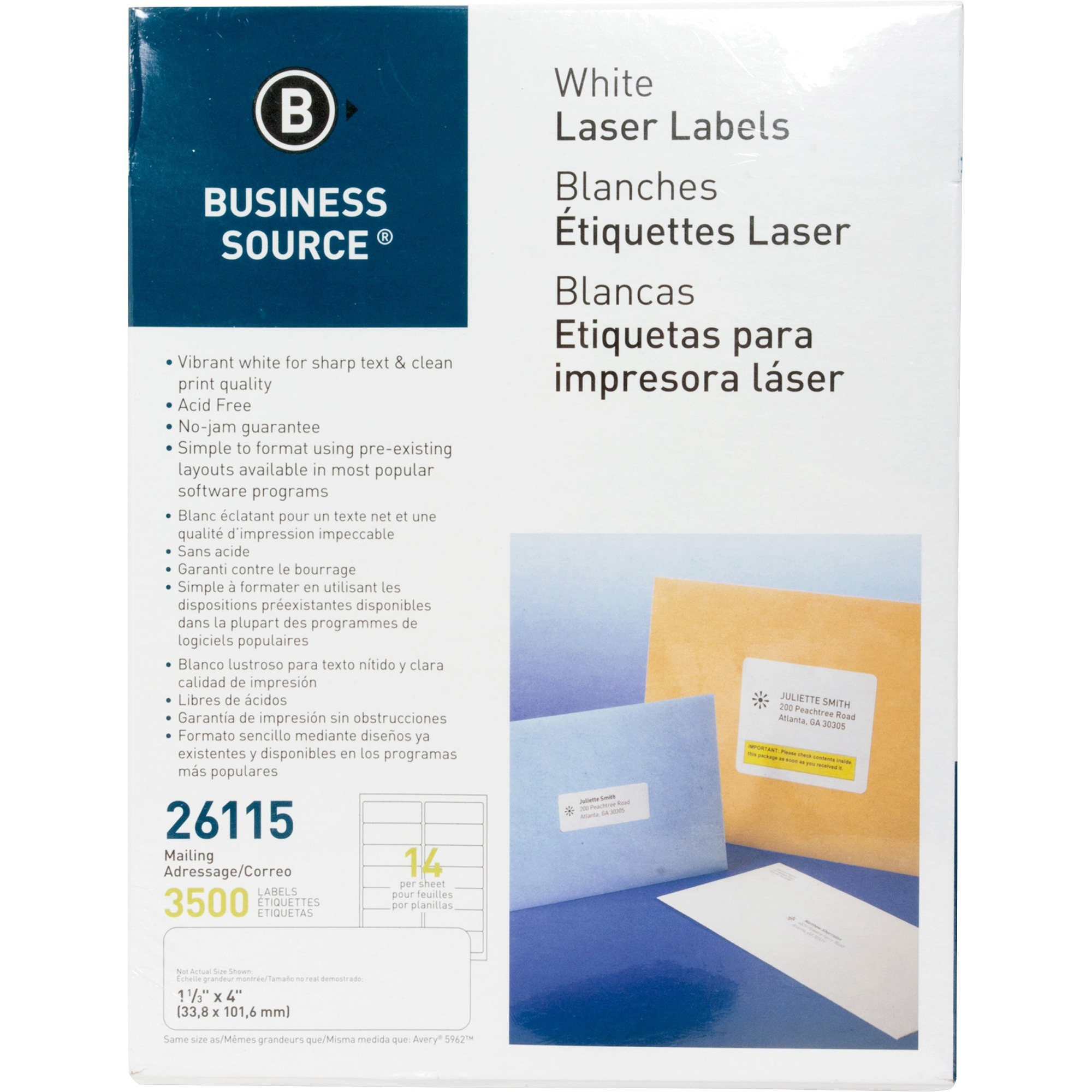 Business Source, BSN26115, Bright White Premium-quality Address Labels, 3500 / Pack, White