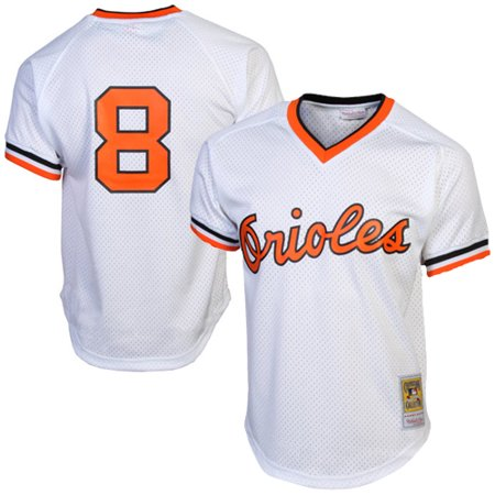 Cal Ripken Jr. Baltimore Orioles Mitchell & Ness 1985 Authentic Cooperstown Collection Mesh Batting Practice Jersey - White (Jordan Jersey Authentic)