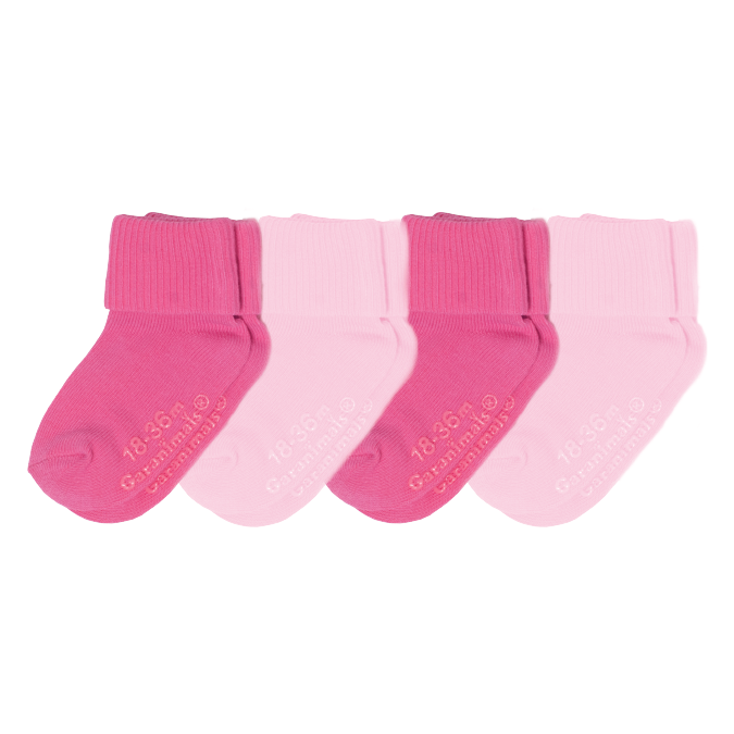 Baby Toddler Girls' Roll Cuff Ankle Gripper Socks, 4-pack