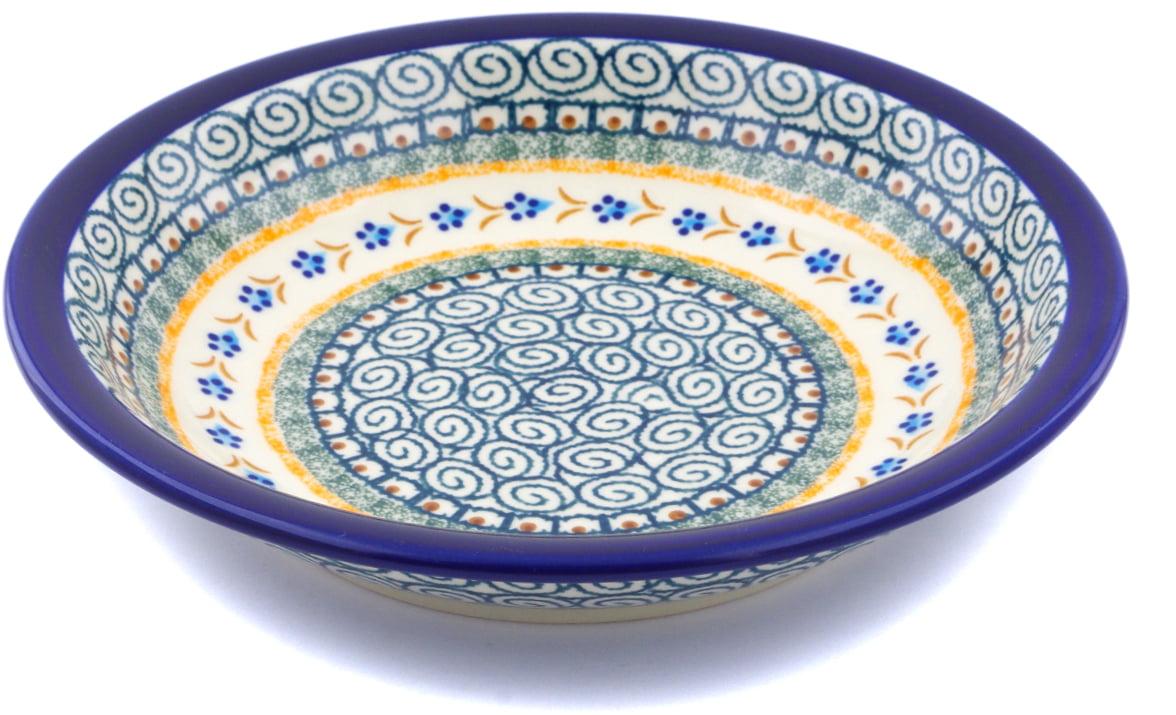 Polish Pottery 9-inch Pasta Bowl (Tiny Daisy Dots Theme) Hand Painted in Boleslawiec, Poland + Certificate of... by Zaklady Ceramiczne