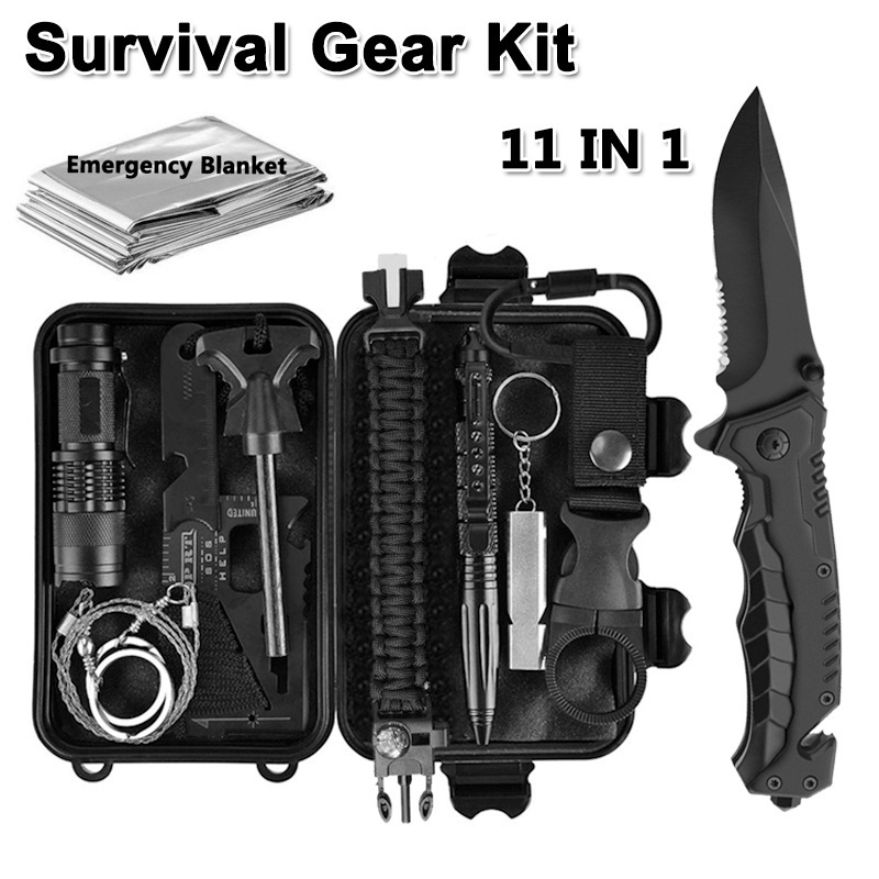 11 in 1 Emergency Camping Survival Equipment Kit SOS Gear Tool Tactical Hunting